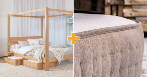 Four Poster Bed + Mattress