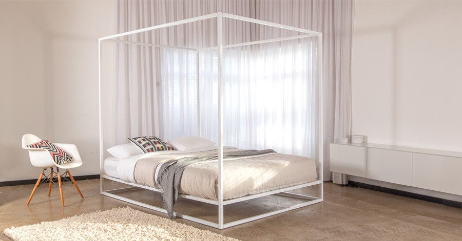 Mondrian metal four poster bed get laid beds - Bed frames for small rooms ...