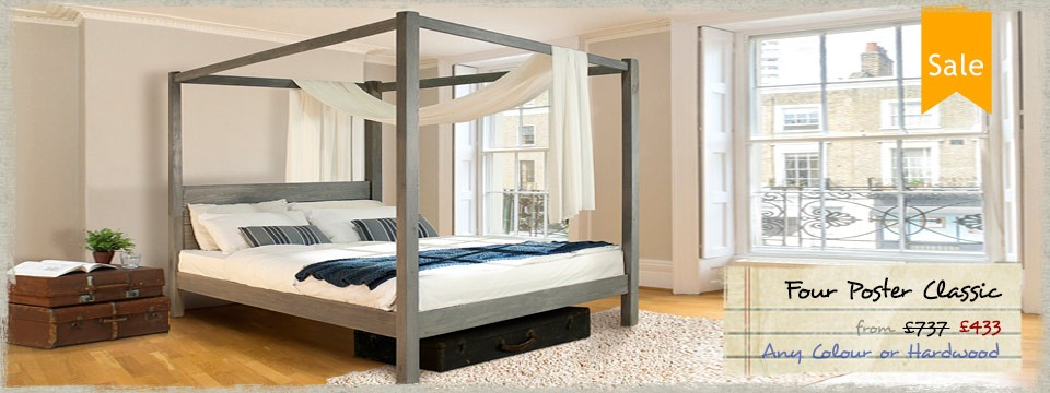 3 - Four Poster Bed Classic Wooden Bed Frame