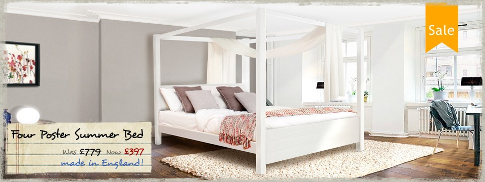 3 - Four Poster Summer Wooden Bed Frame