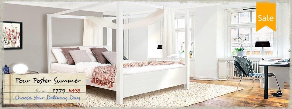3 - Four Poster Bed Summer - Wooden Bed Frame