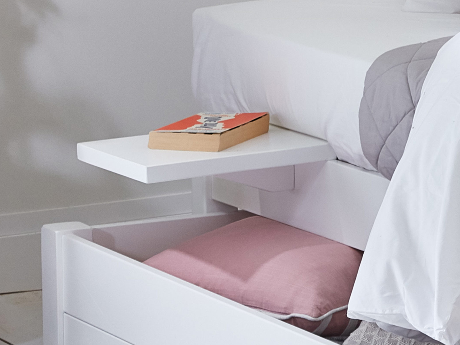Floating Shelf on Low Platform Bed