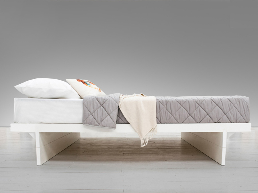 Updated Side Angle Japanese Storage Bed White