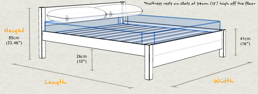 London Wooden Bed Frame Sizes and Dimensions