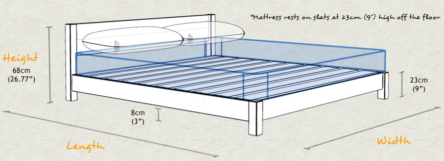 Low Oriental Space Saver Wooden Bed Frame Sizes and Dimensions
