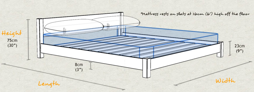 Low Tokyo Wooden Bed Frame Sizes and Dimensions