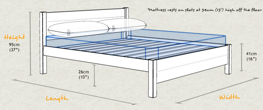 Oxford Wooden Bed Frame Sizes and Dimensions