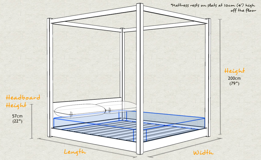 Low Four Poster Wooden Bed Frame Schematic Sizes Drawing