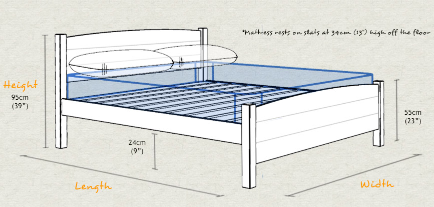 Traditional country bed for How tall is a standard bed frame