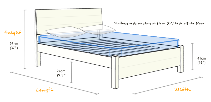 Chelsea Wooden Bed Frame Dimensions
