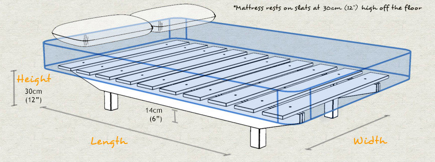 Floating Platform Bed Dimensions and Sizes Diagram