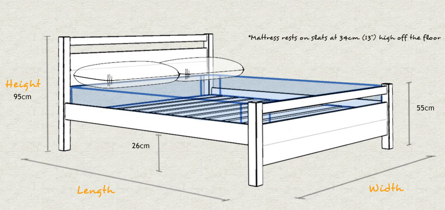 Cambridge Wooden Bed Frame Size and Dimensions