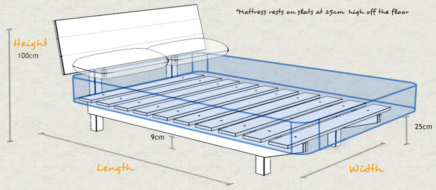 Floating Wooden Bed Frame Sizes and Dimensions