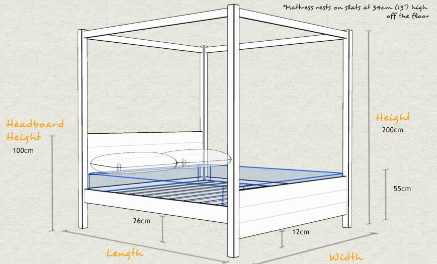 Four Poster Bed Summer Size and Dimensions
