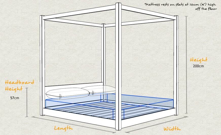 low four poster wooden bed frame schematic sizes drawing - Four Poster Bed Frame