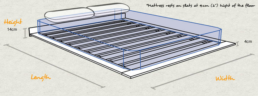 Low Modern Wooden Bed Schematic Diagram