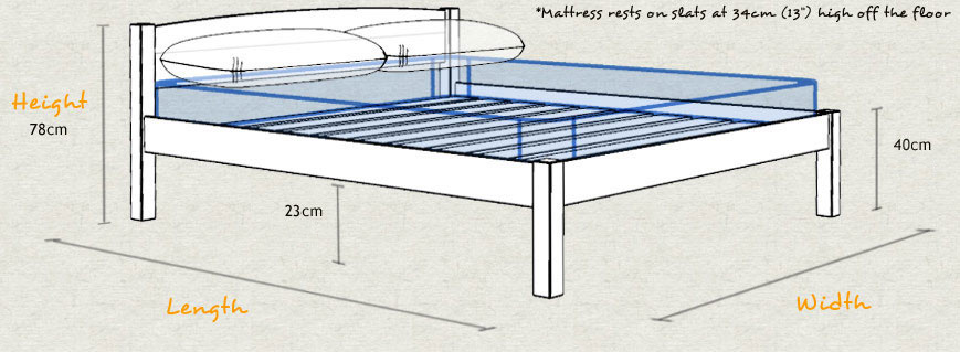 Classic Wooden Bed Frame Sizes and Dimensions
