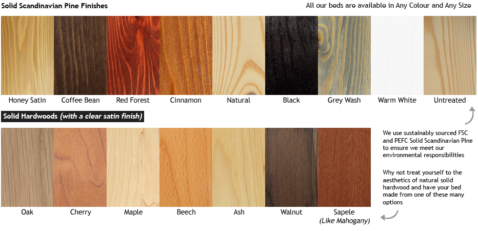Wooden-bed-frame-solid-pine-and-hardwood-colour-finishes-swatch