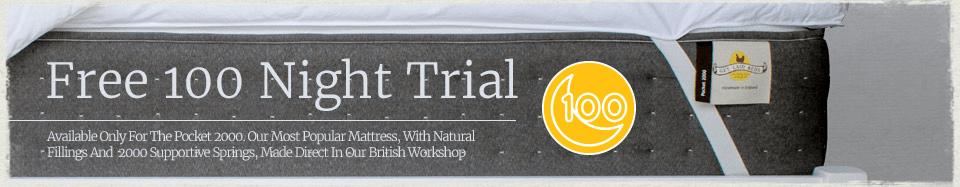 Free 100 Night Sleep Trial on Pocket 2000 Mattress Sale Graphic